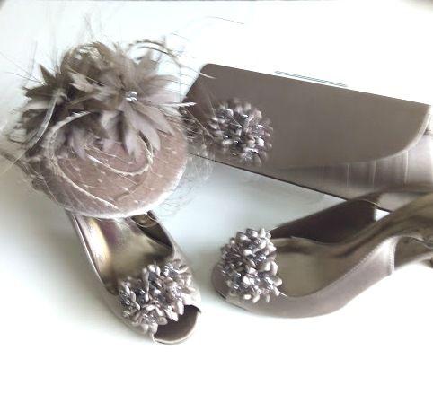 Lunar Elegance matching Taupe shoes bag fascinator size 6