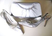 Magrit silver grey satin shoes matching bag size 4 mother bride