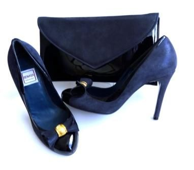 Renata occasion shoes matching clutch blue sparkle|black patent  bow size 3