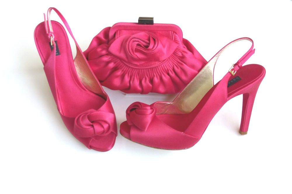 Coast occasion satin shoes matching bag hot pink size 6