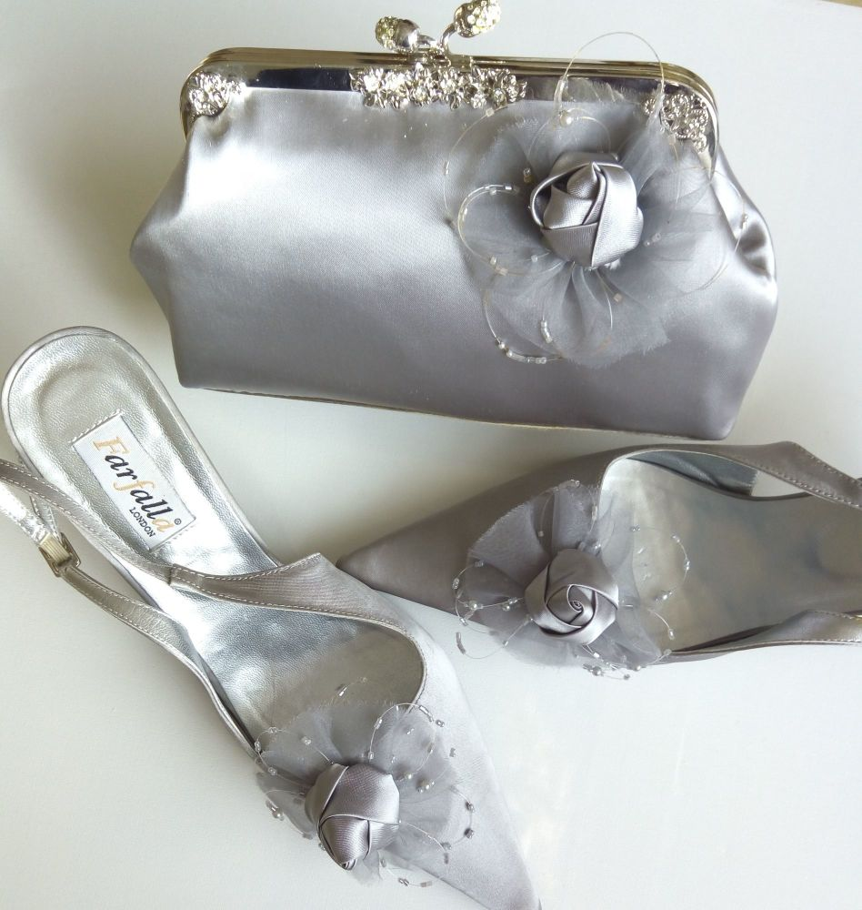 Farfalla grey satin ocasion shoes matching bag size 6