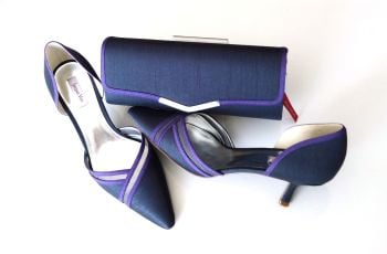 Jacques Vert occasions shoes 2 tone purple matching bag size 7