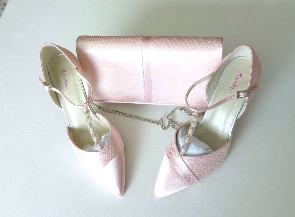 Rainbow club bespoke shoes matching bag pale pink satin |lace  pearls cryst