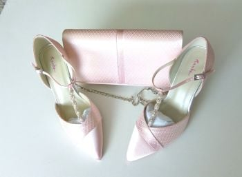 Rainbow club bespoke shoes matching bag pale pink satin |lace  pearls crystals size 5.5