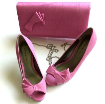 Jacques Vert pink peeptoe shoes  matching bag size 3.5 to 4