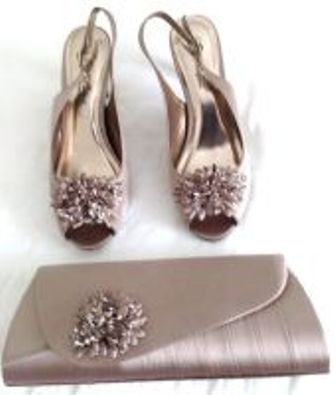 Lunar occasions slingback shoes matching bag mother bride  mink size 6