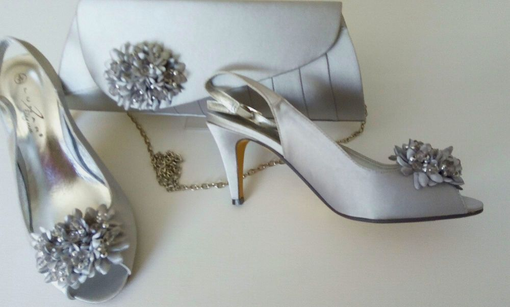 Lunar silver grey satin peeptoe occasion shoes matching bag size 4