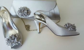 Lunar silver grey satin peeptoe occasion shoes matching bag size 4 to size 4.5