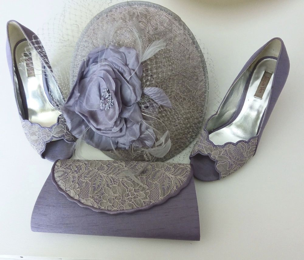 Jacques Vert mother bride shoes matching bag  fascinator lavender size 5