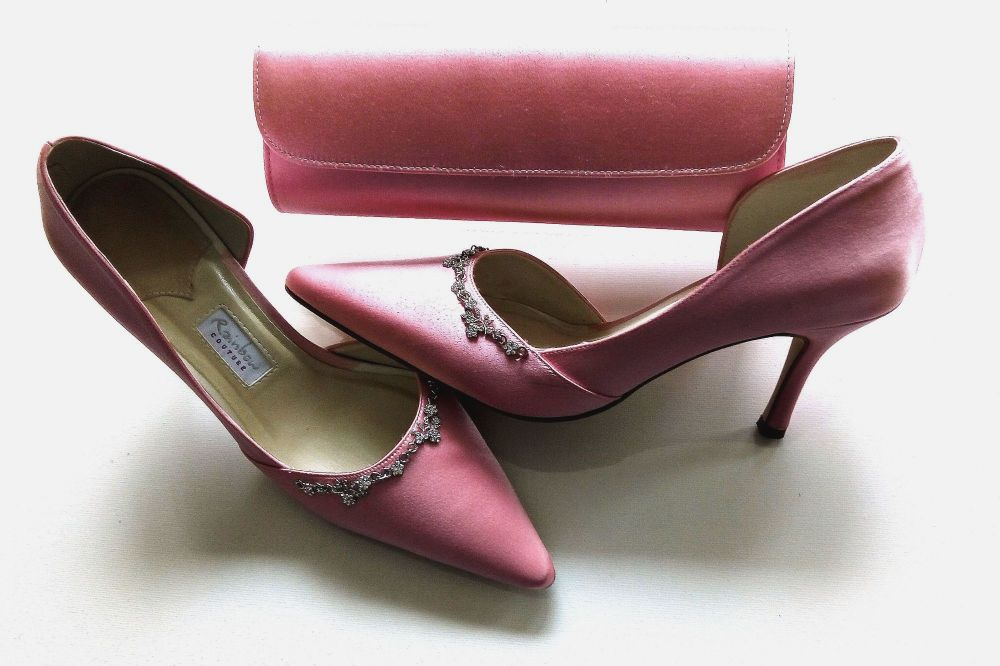 Rainbow Couture pink satin  mother bride  shoes matching bag  size 6