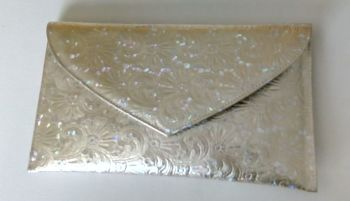 Renata Italy designer clutch bag gold iridescent flower design