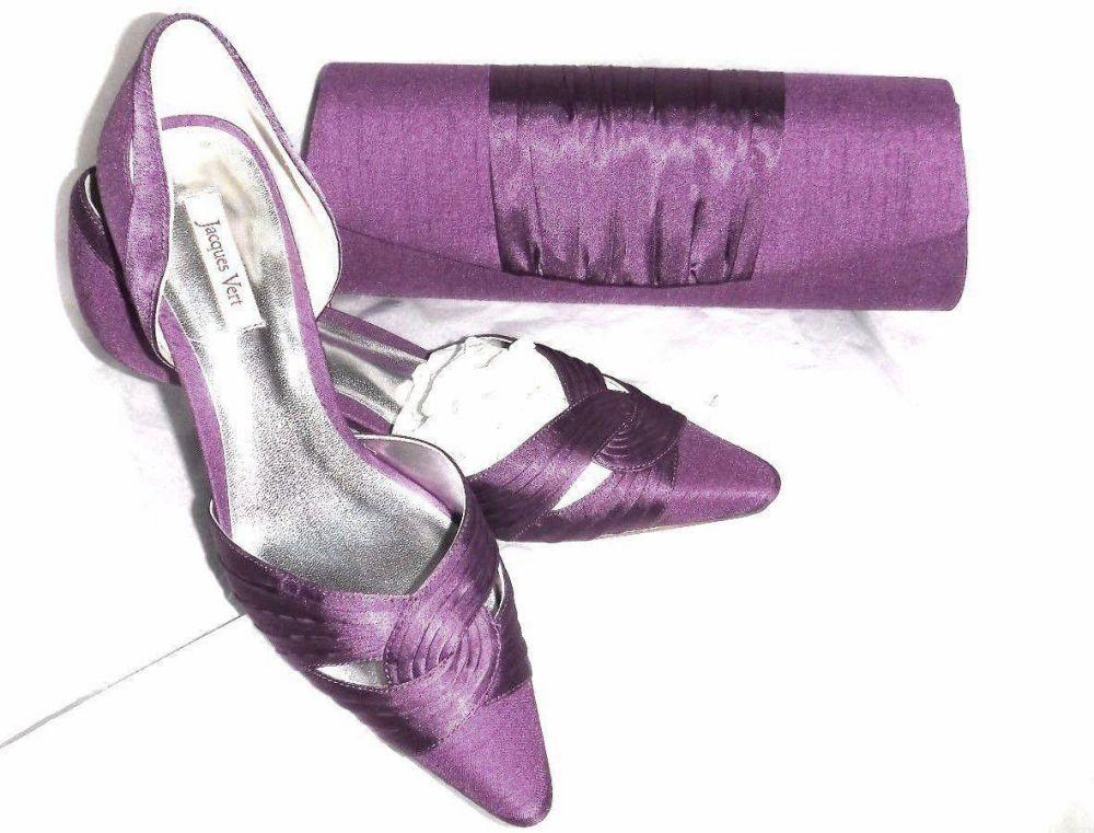 Jacques Vert silk slub purple shoes matching bag size 5 mother bride