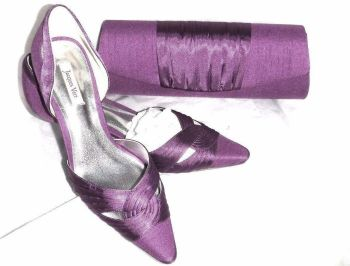Jacques Vert silk slub magenta purple shoes matching bag size 5 mother bride