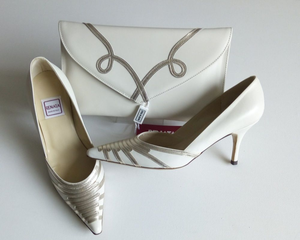 Renata shoes matching clutch cream gold mother bride size 2.5-to 3