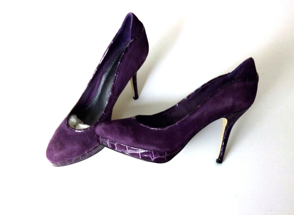 Spanish Menbur designer platform shoes purple suede 4 ins high heels size 3