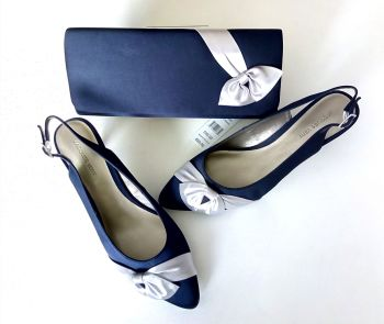 Jacques Vert navy silk  with silver grey bow shoes matching bag size 6