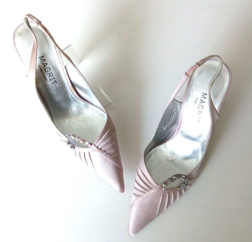 Magrit  dusky pink satin shoes with crystals  size 4 mother bride