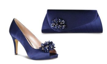 Lunar navy blue satin occasion  shoes matching clutch bag size 5