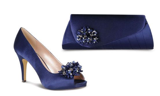 Lunar midnight blue satin occasion  shoes matching clutch bag size 4