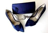 Jacques Vert midnight blue occasion shoes matching bag  size 6