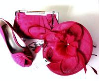 Jacques Vert cerise pink shoes  matching  bag with fascinator size 6