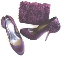 Coast plum |aubergine occasions satin rose design shoes matching bag size 7
