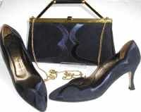 Gina designer shoes matching 3 way bag navy size UK 4.