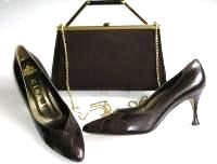 Gina shoes matching bag dark brown mother bride size 6.5 to 7