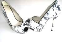 Karen Millen shoes peeptoe whites greys flowers butterfly  5 inch heel size