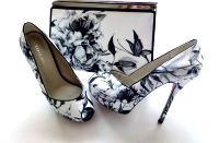 Karen Millen white black flower platform peeptoe with matching bag Size 4