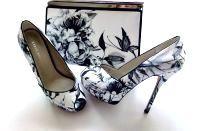 Karen Millen white black flower platform peeptoe with matching bag Size 4