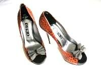 Gina London shoes Red animal print with crystal bow size 6 to 6.5