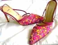 Gina designer shoes.asymmetric cerise stiletto size 5.5.New