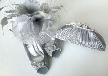 Lunar shoes matching bag fascinator silver grey satin size 3 mother bride