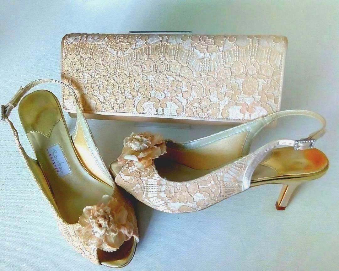 Rainbow Couture shoes matching bag palest peach lace overlay Rose feature s