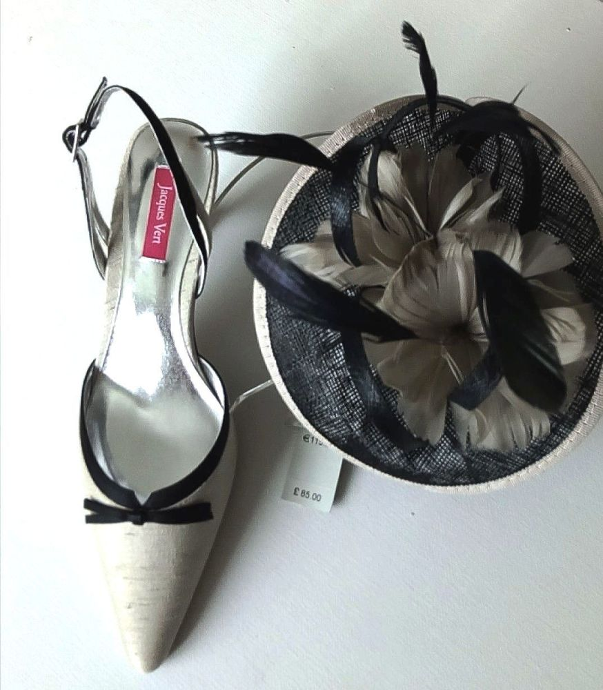 Jacques Vert shoes bag fascinator neutral Canvas range mother bride size4-4