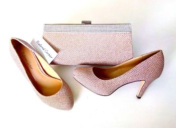 Roland Cartier occasion court shoes matching bag metallic rose sparkly size 3