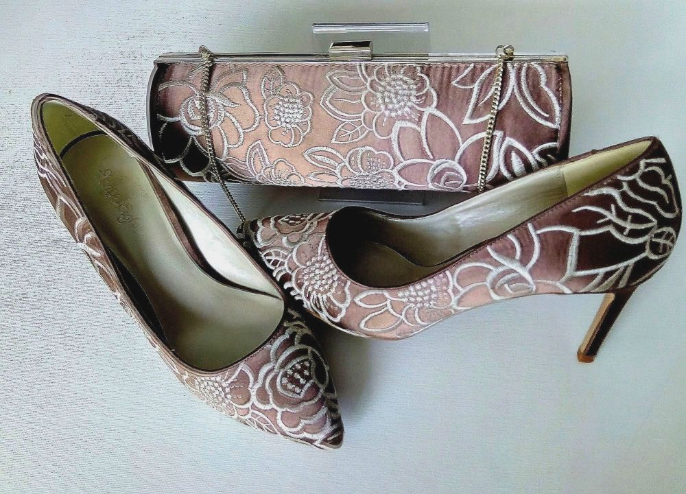 Phase Eight occasions shoes and matching bag in Praline and cream embroider