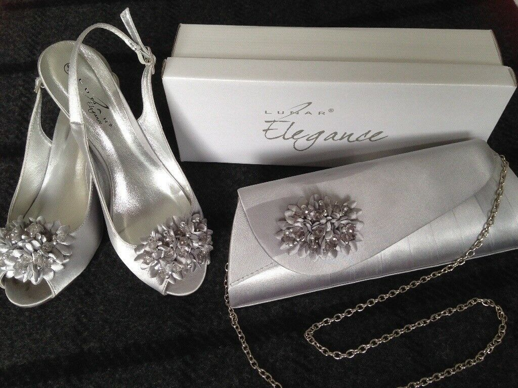 Lunar silver grey satin peeptoe occasion shoes matching bag size 5