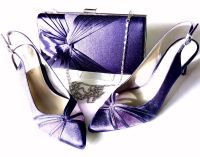 Jacques Vert  Cadbury purple satin with mesh shoes size 6 matching satin pl