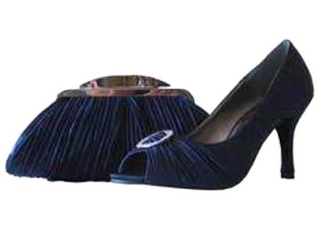 Lunar mother bride navy blue satin pleat shoes matching bag  size 7