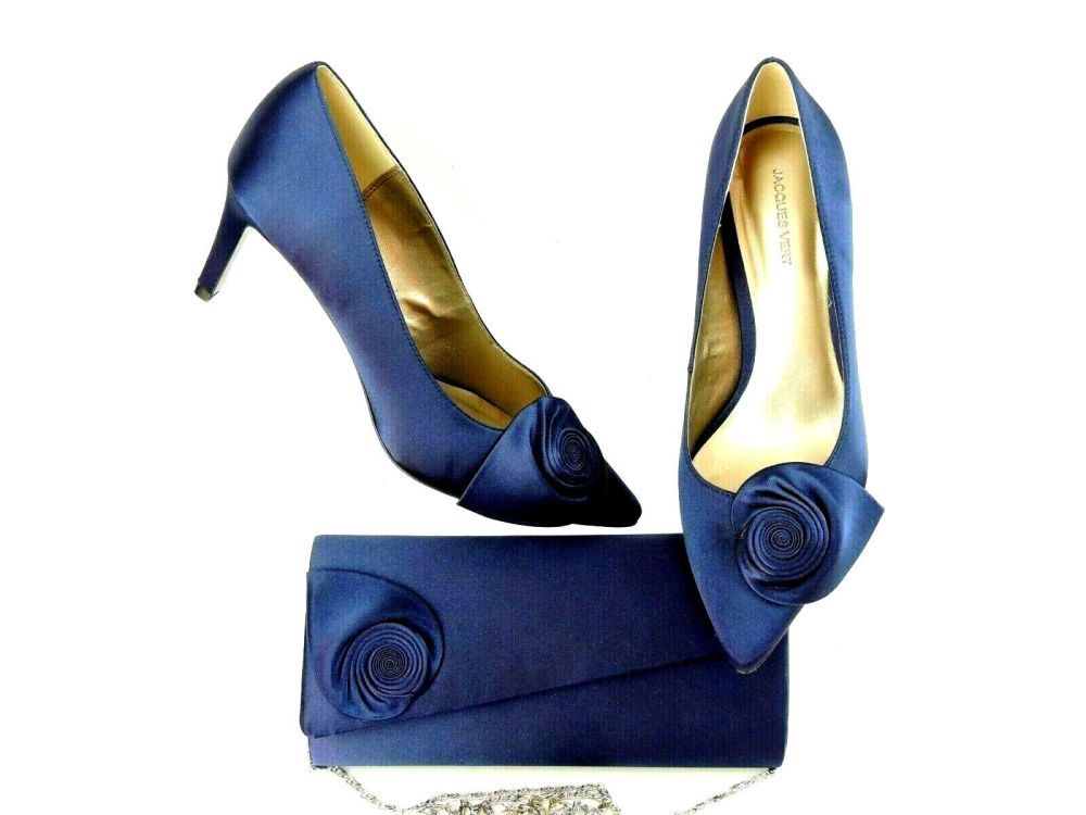 Jacques Vert midnight blue occasion shoes matching bag  size 7
