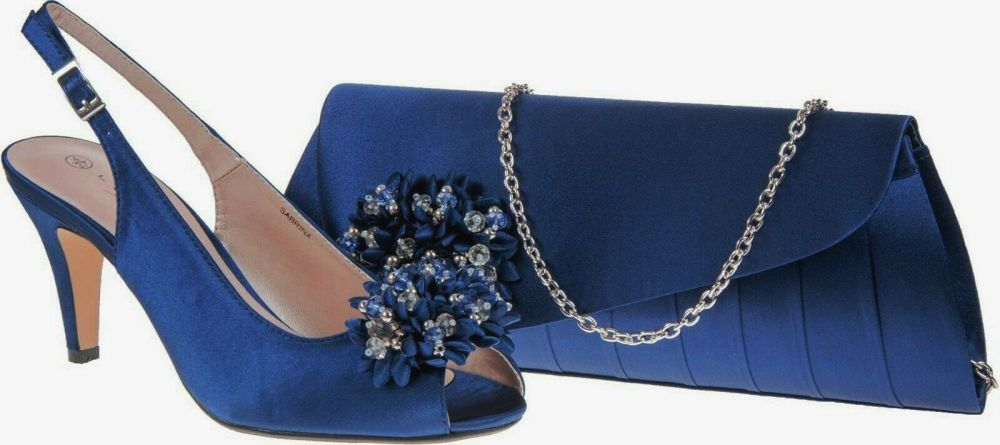 Lunar navy blue peeptoe  occasions shoes  matching bag size 5