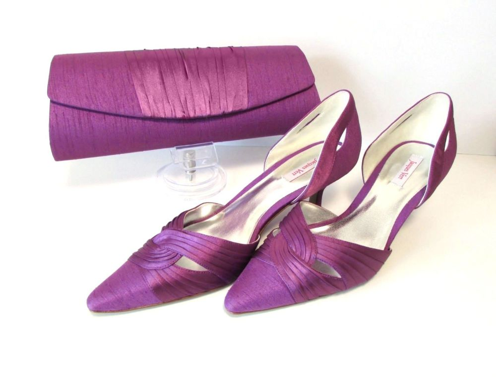 Jacques Vert purple matching occasion shoes and bag size 6