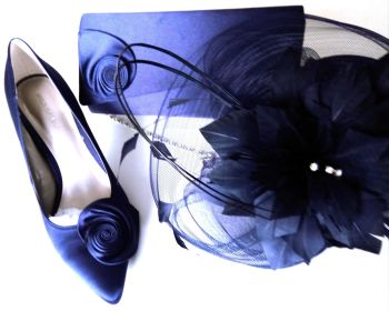 Jacques Vert occasion  midnight|navy blue satin shoes matching bag & fascinator size 7