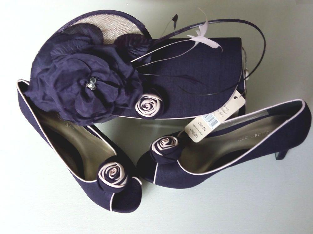 Jacques Vert peeptoe shoes  purple rosebud feature matching bag & fascinato