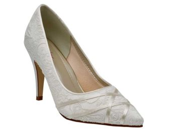 Rainbow Club mother bride occasions pale grey |ivory lace shoes size 6