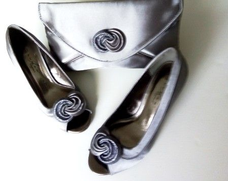 "Lunar ""Ripley"" occasion  grey satin peep toe shoes and matching bag size 3"
