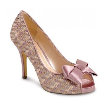 Lunar occasion  shoes weave design in dusky pink and beige large bow size 3