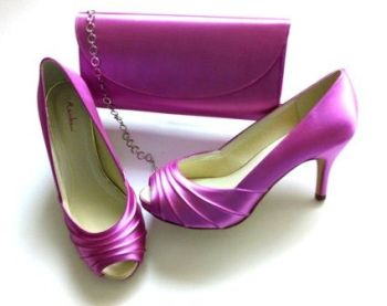 Rainbow Club satin peeptoe occasion shoes matching bag cerise pink size 5